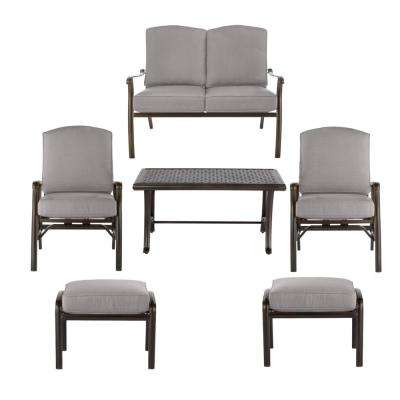 Ridge Falls Dark Brown Aluminum Outdoor Patio Deep Seating Set with CushionGuard Stone Gray Cushions