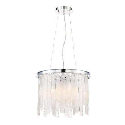 Candice Collection 6-Light Polished Chrome Chandelier with Granular Glass Shade