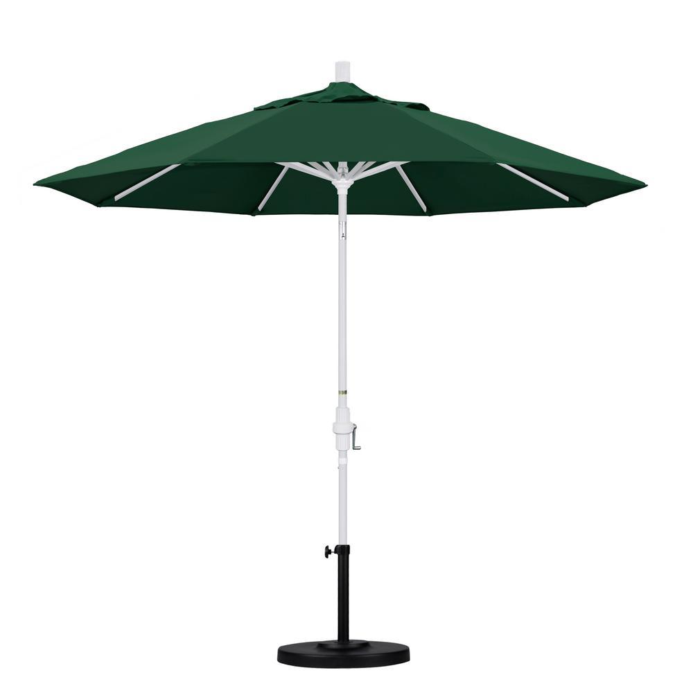 Superieur California Umbrella 9 Ft. Aluminum Collar Tilt Patio Umbrella In Hunter  Green Olefin