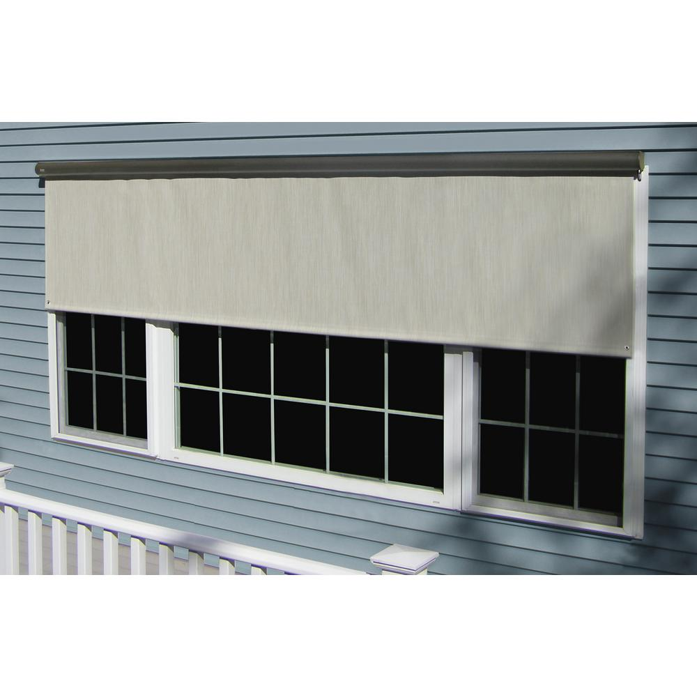 Bali Essentials Charcoal Cordless Light Filtering Motorized Vinyl Horizontal Roll-Up Shade 144 in. W x 84 in. L