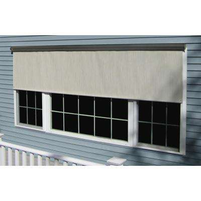 Coral White Vinyl Exterior Solar Shade with Hand Crank and Full Bronze Cassette - 144 in. W x 84 in. L