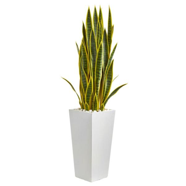 Nearly Natural Indoor 4-Ft. Sansevieria Artificial Plant in White Tower Planter