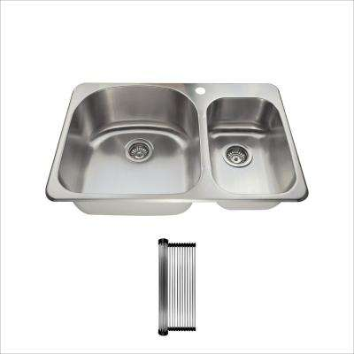 All-in-One Drop-In Stainless Steel 31-1/2 in. 1-Hole 60/40 Double Bowl Kitchen Sink