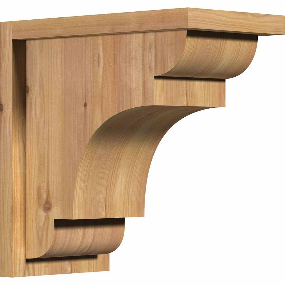 Ekena Millwork 7-1/2 in. x 14 in. x 14 in. New Brighton Smooth Western Red Cedar Corbel with Backplate