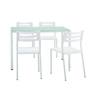 Bistro Small White Dining Glass and Metal (Set of 5)