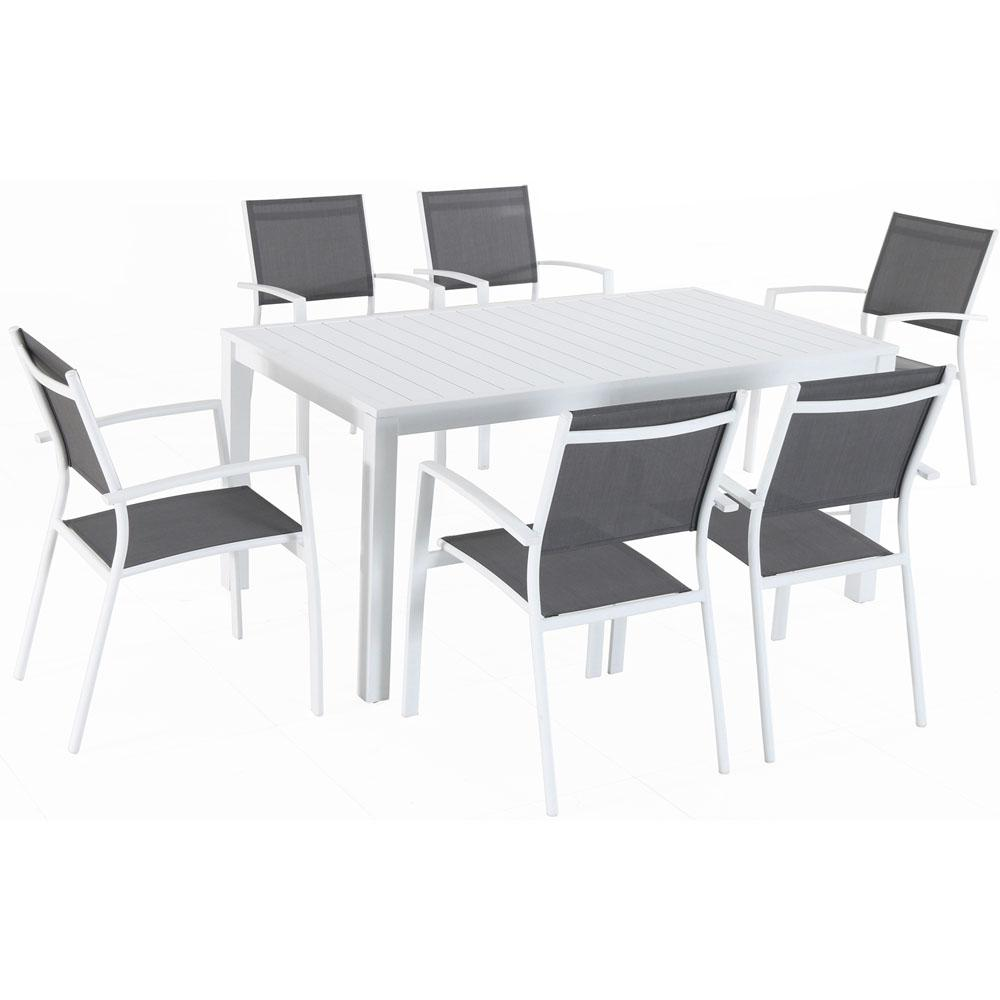 Harper 7 Piece Aluminum Outdoor Dining Set With 6 Sling Chairs And A 78 In X 40 Table