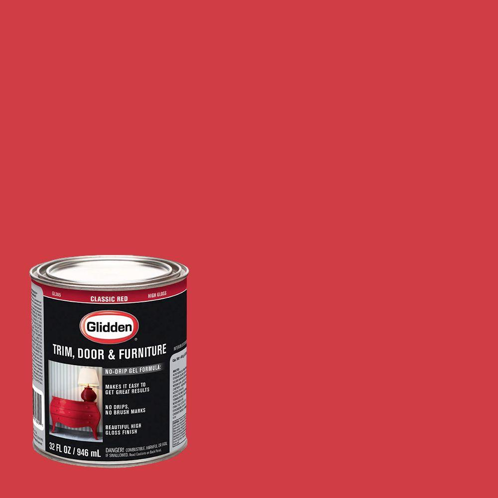 Ordinaire Glidden Trim And Door 1 Qt. Classic Red Gloss Interior/Exterior Oil Paint
