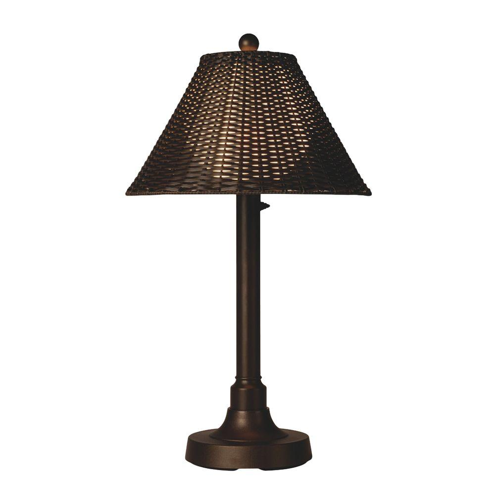 Merveilleux Patio Living Concepts Tahiti II 34 In. Bronze Outdoor Table Lamp With  Walnut Wicker Shade