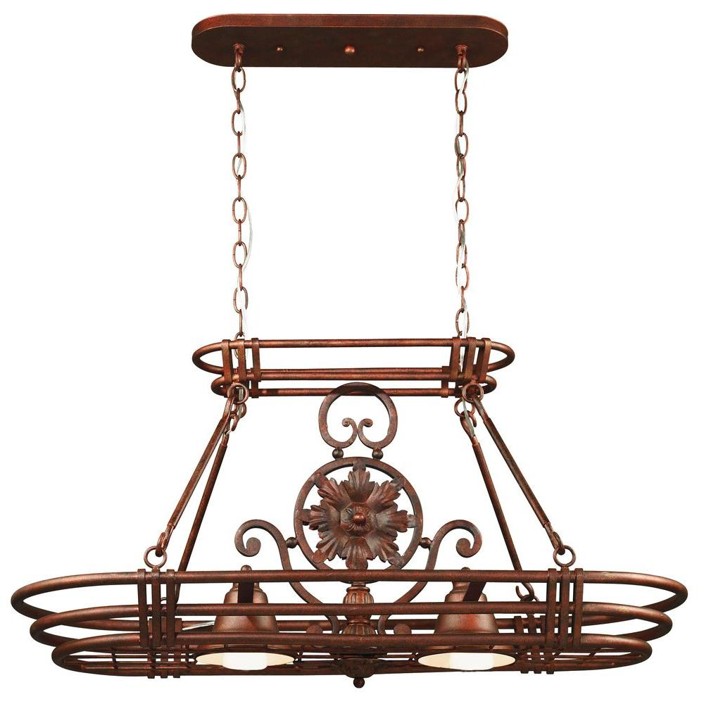 Kenroy Home Dorada 2-Light Gilded Copper 8 Hook Pot Rack