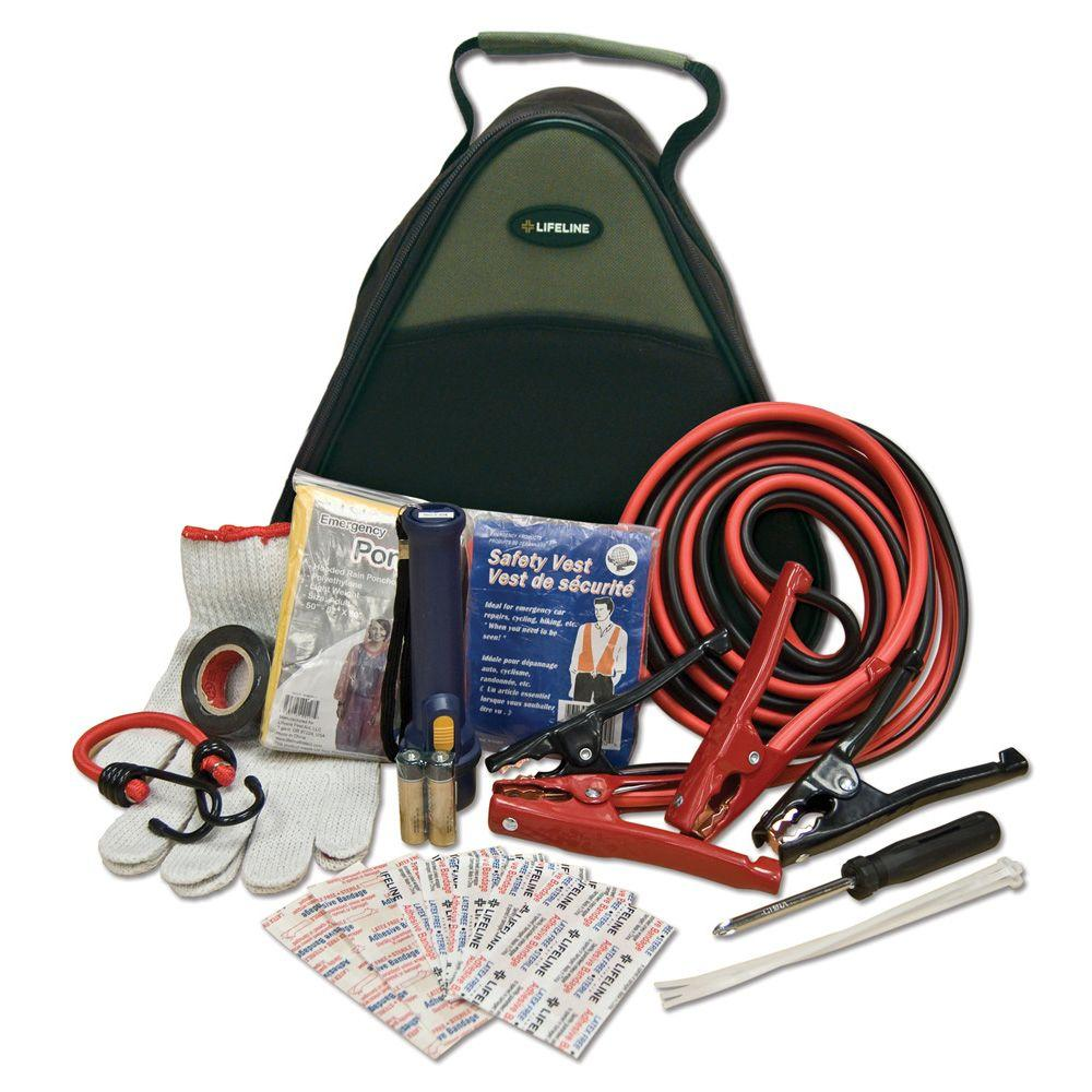Lifeline Emergency Roadside Assistance and First Aid Kit 33-Piece