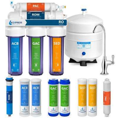 Clear Reverse Osmosis Water Filtration System 5 Stage RO Filter with Faucet and Tank 4 Free Extra Filters 100 GPD
