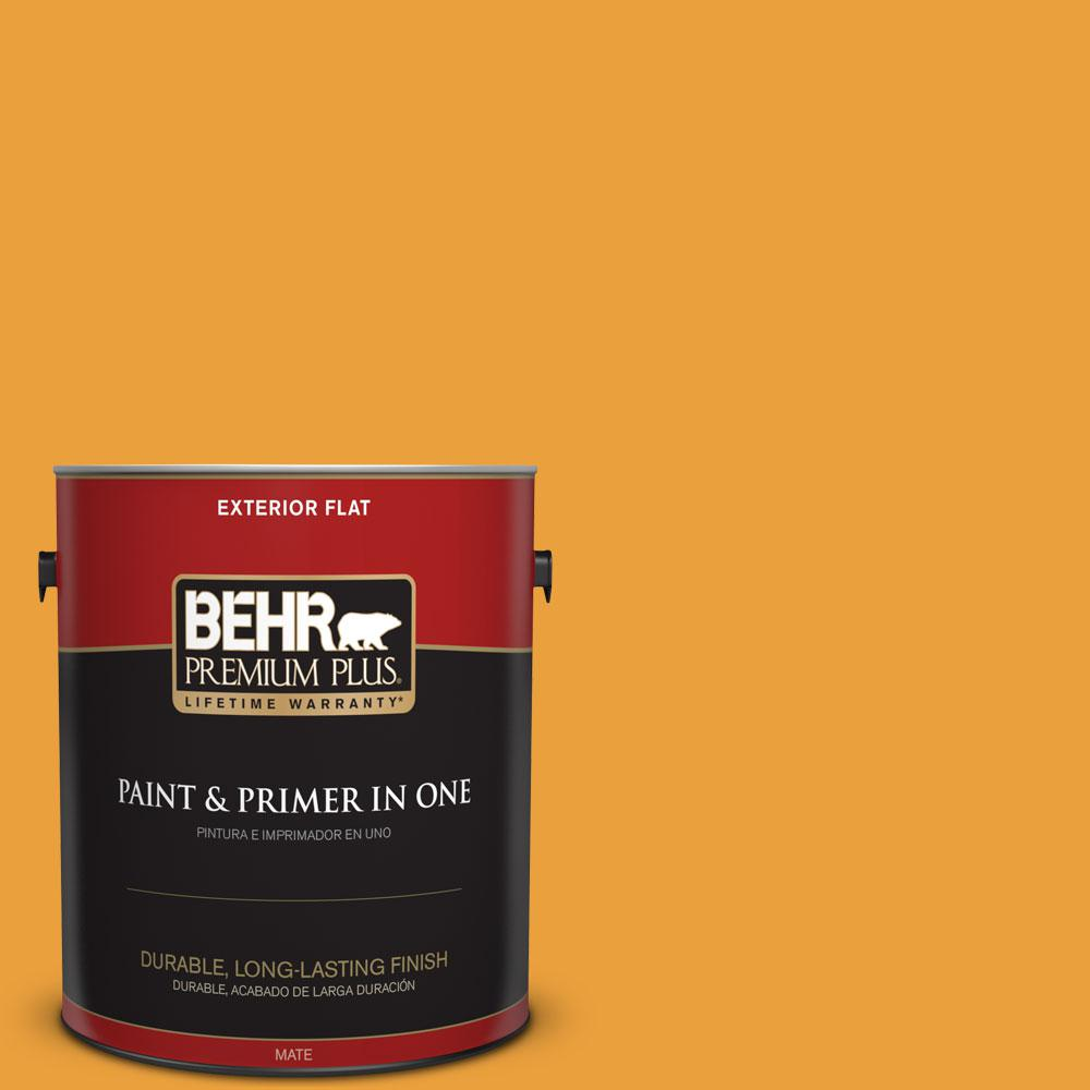 1 gal. #HDC-FL14-5 Gilded Leaves Flat Exterior Paint