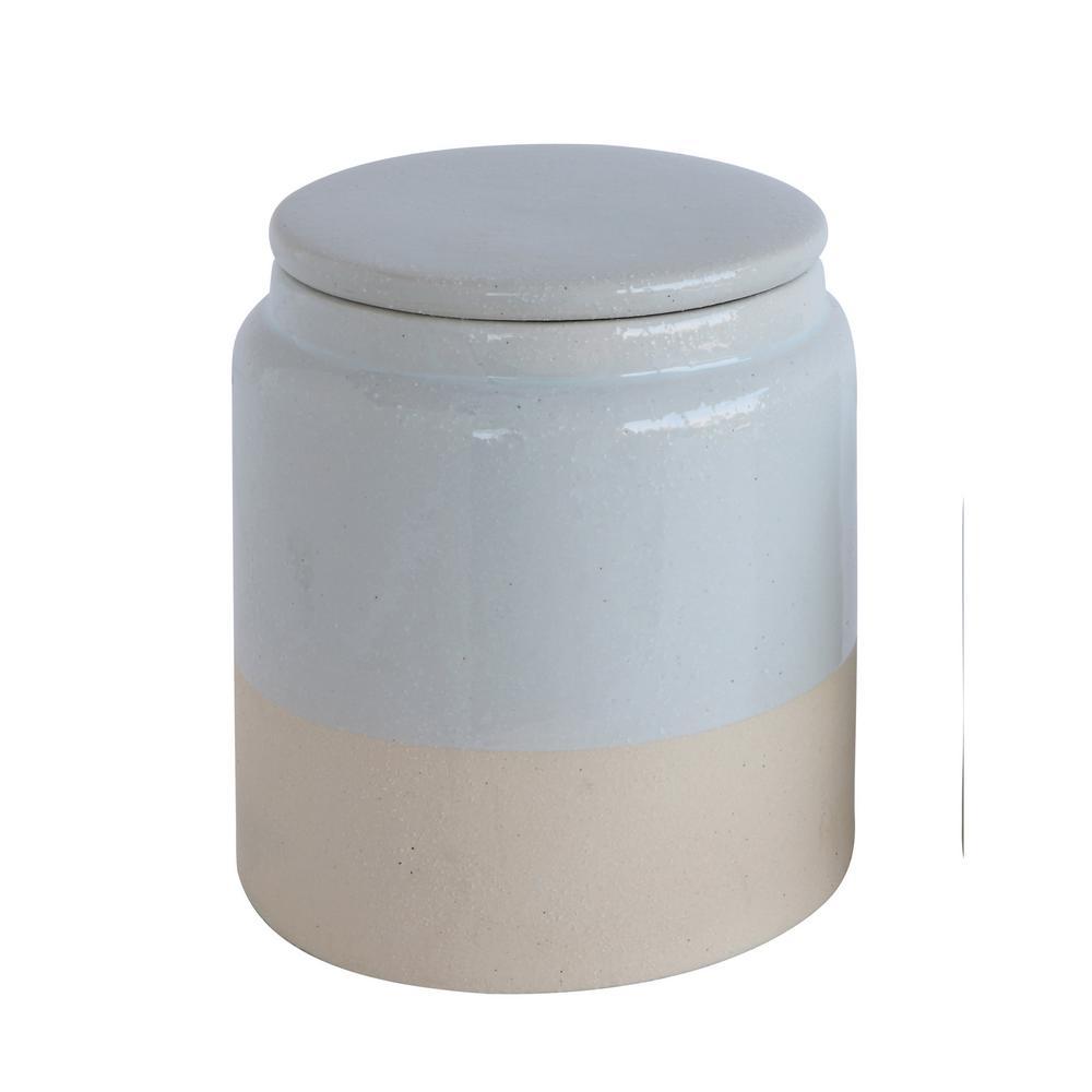 White Stoneware Glazed Canister