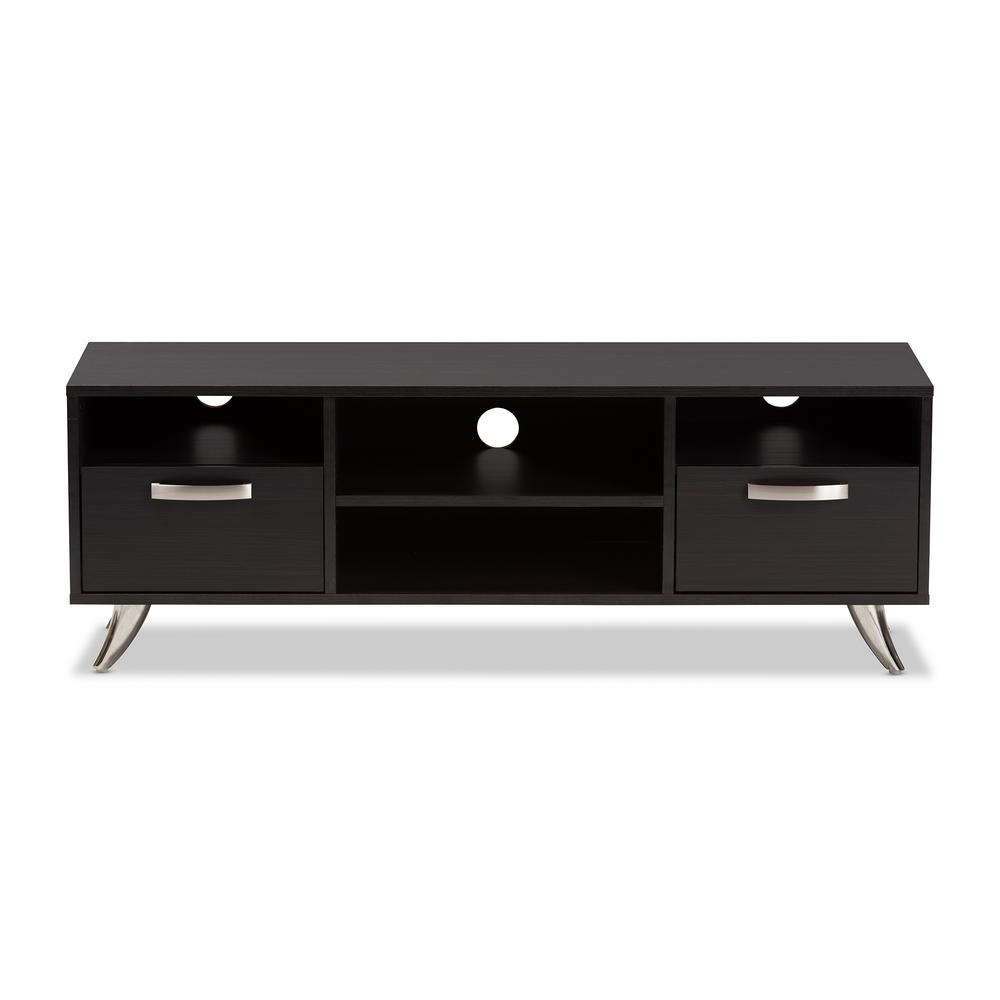 Baxton Studio Warwick Dark Brown 2 Drawer Tv Stand