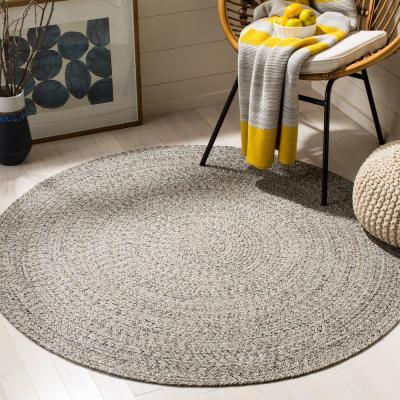 Braided Ivory/Steel Gray 5 ft. x 5 ft. Round Area Rug