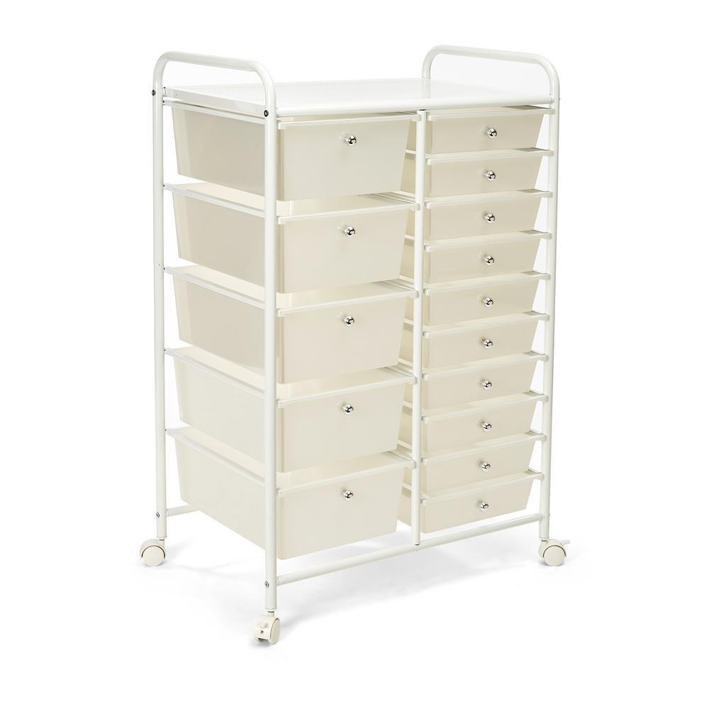 Pearlized White 15-Drawer Organizer Cart