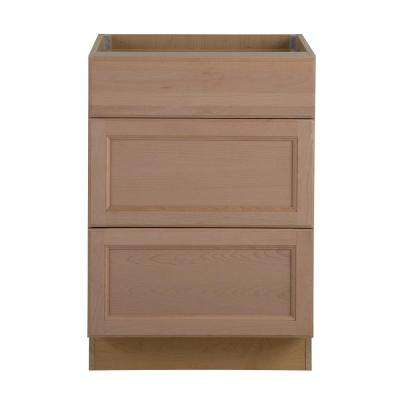 Assembled 24 in. x 34.5 in. x 24.63 in. Easthaven Base Cabinet with 3-Drawers in Unfinished German Beech
