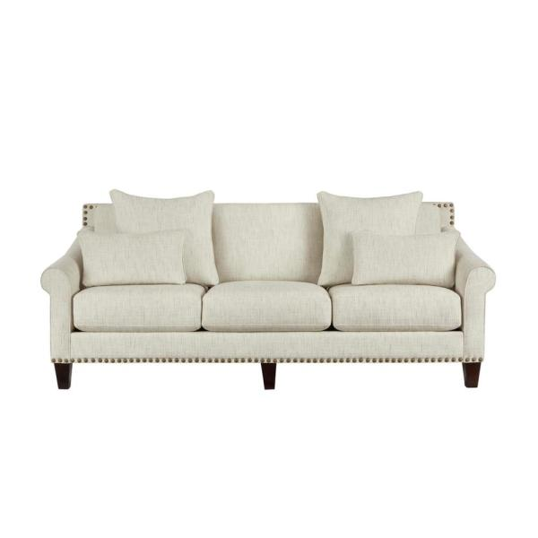 Everett Mix it Up Ivory Straight Standard Sofa with Nailheads (89.5 in. W x 35 in. H)