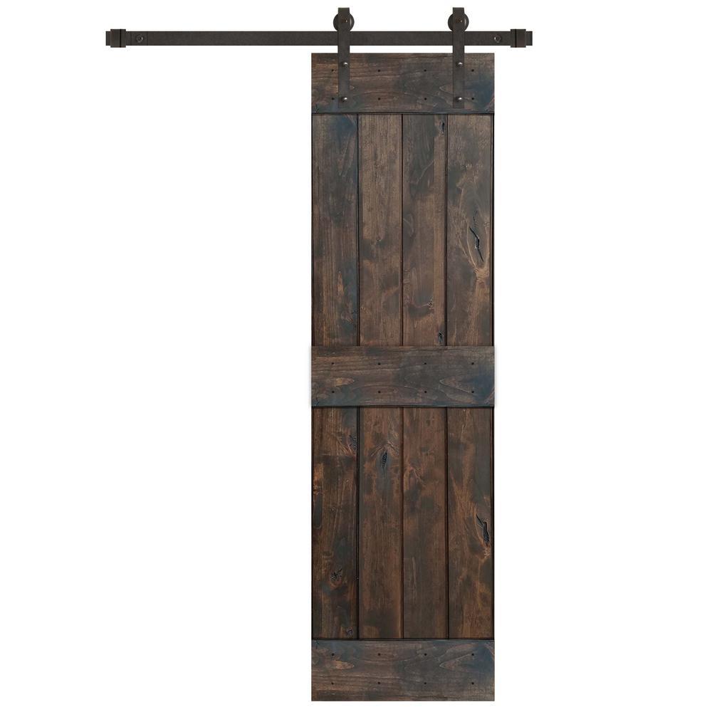 24 in. x 84 in. Rustic Espresso 2 Panel Knotty Alder Wood Barn Door with Oil Rubbed Bronze Sliding Door Hardware Kit