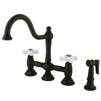 Restoration 2-Handle Bridge Kitchen Faucet with Side Sprayer in Oil Rubbed Bronze