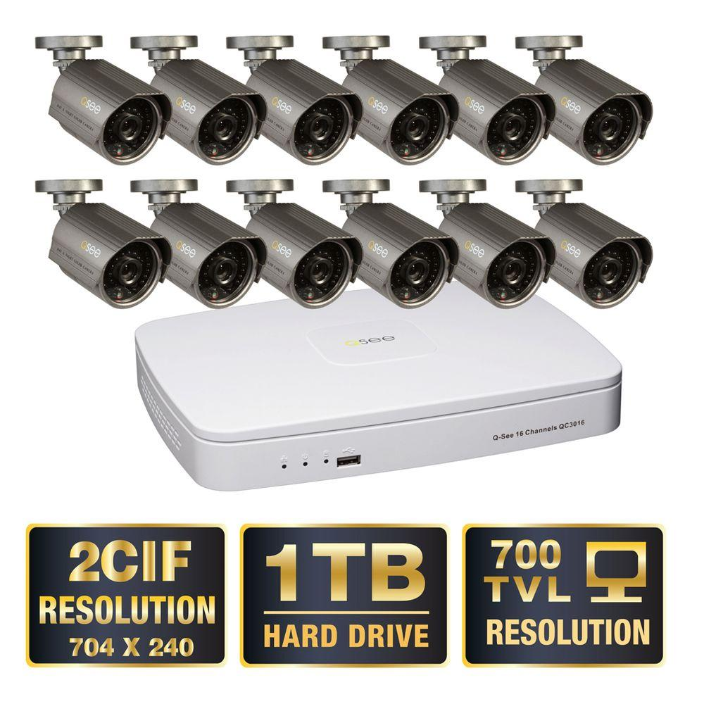 Q-SEE Advanced 16-Channel D1/2CIF 1TB Video Surveillance System 12 Hi-Res 700 TVL Cameras 100 ft. Night Vision-DISCONTINUED