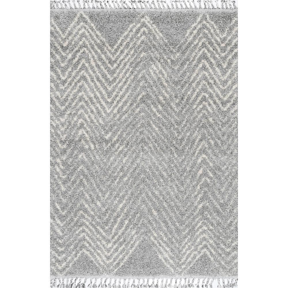 nuLOOM Amanda Moroccan Chevron Tassel Gray 5 ft. x 8 ft. Area Rug