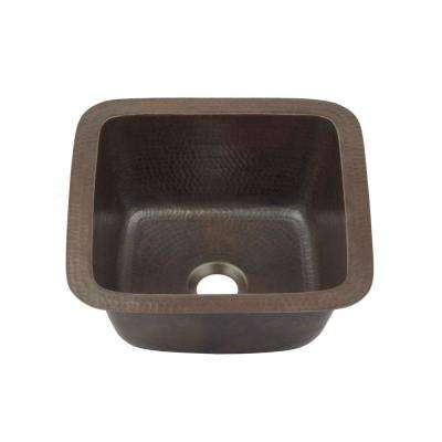 Pollock Undermount Handmade Pure Solid Copper 12 in. 0-Hole Bar Prep Sink in Aged Copper