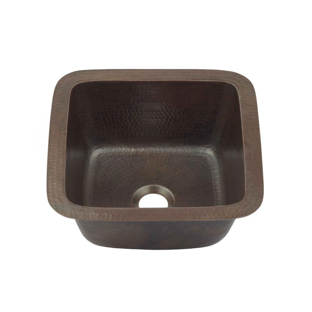 SINKOLOGY Pollock Undermount Solid Copper 12 in. Single Bowl Kitchen Sink in Aged Copper