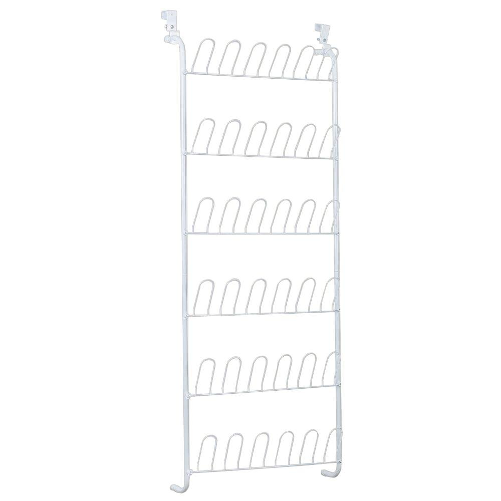 Delightful 18 Pair Over The Door Shoe Organizer In White