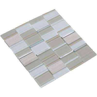 Tallia/04, White/Beige/Creme, 3 in. x 6 in. x 8 mm Glass/Stone/Metal Mesh-Mounted Mosaic Tile Sample