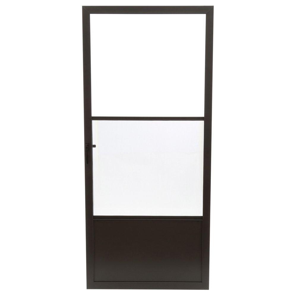 36 in. x 80 in. 75 Series Bronze Self-Storing Storm Door