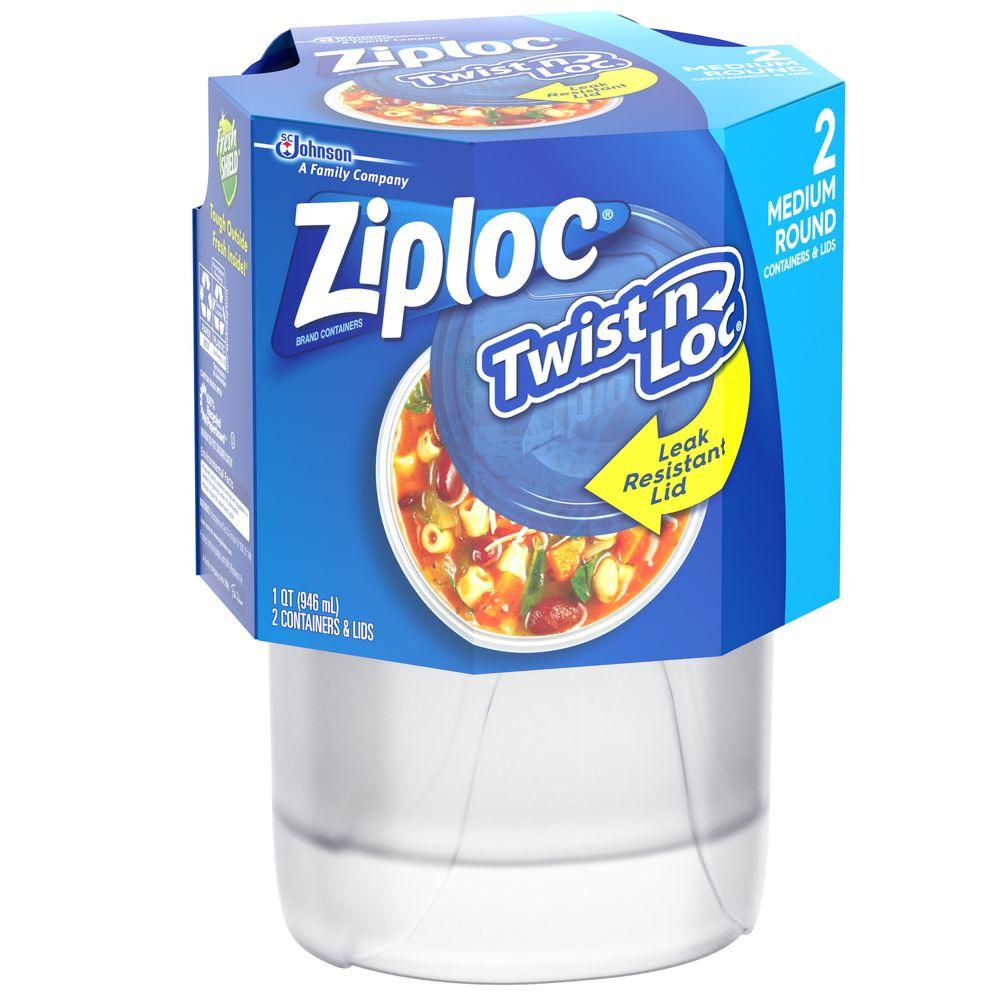 Ziploc 32 oz. Medium Twist u0027n Loc Round Container  sc 1 st  Home Depot & Ziploc 32 oz. Medium Twist u0027n Loc Round Container-018035 - The Home ...