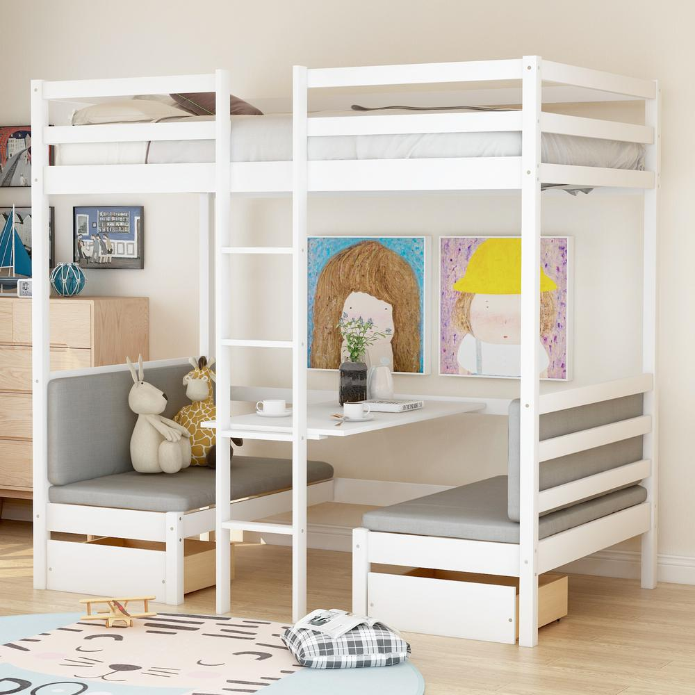 Harper Bright Designs White Multifunctional Bunk Bed With Desk Sm000099aak The Home Depot