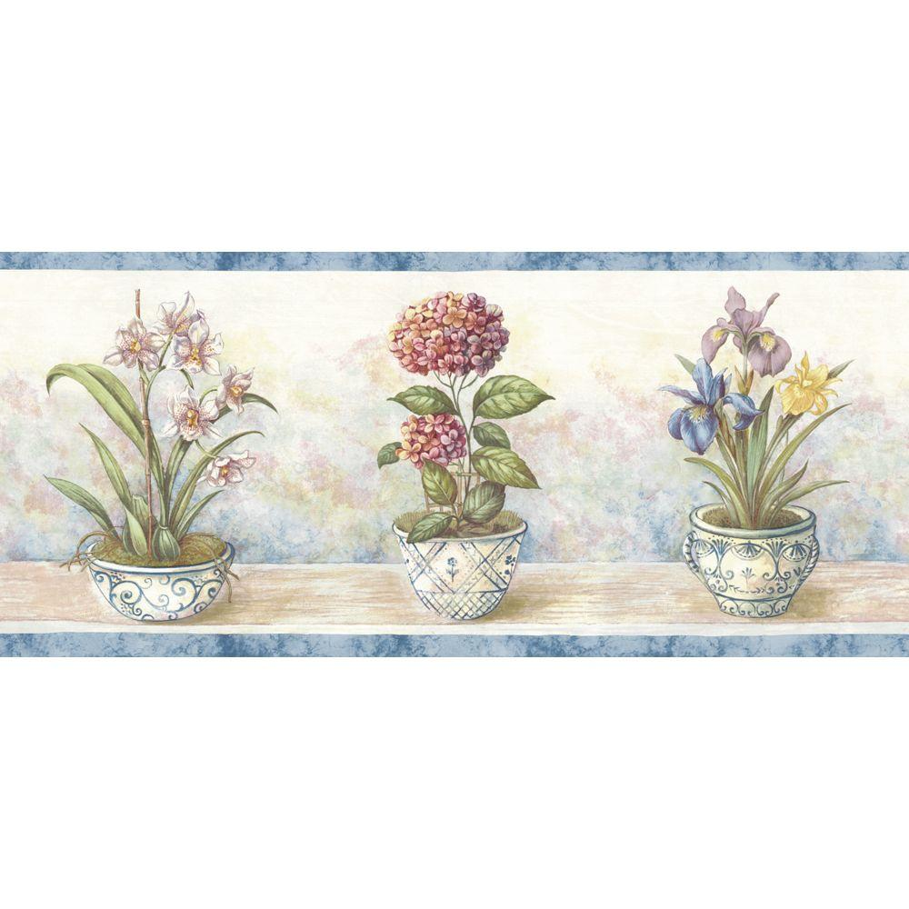 The Wallpaper Company 9 in. x 15 ft. Navy Potted Floral Border-DISCONTINUED