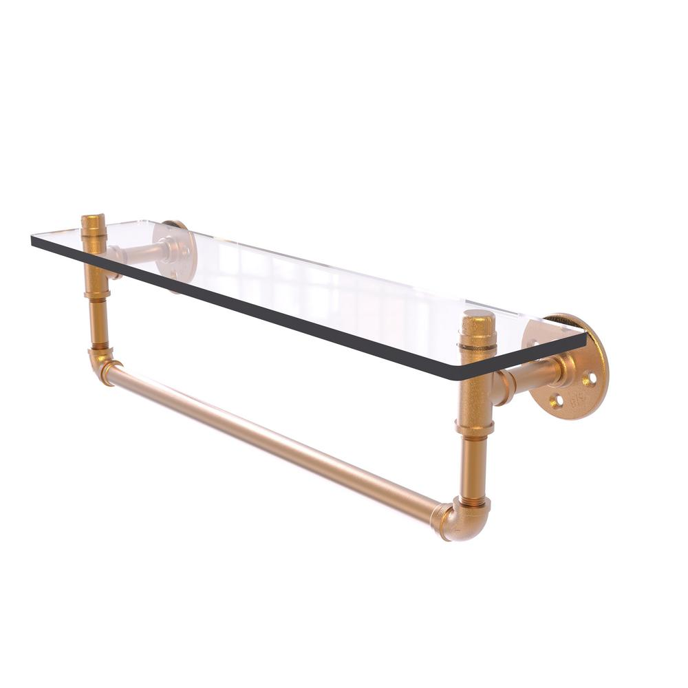 Allied Brass Pipeline Collection 22 in. Glass Shelf with ...