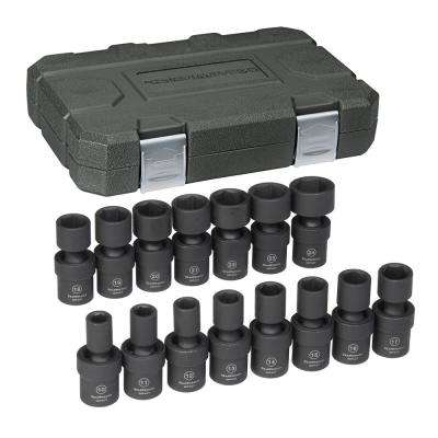 1/2 in. Drive Metric Impact Universal Socket Set (15-Piece)