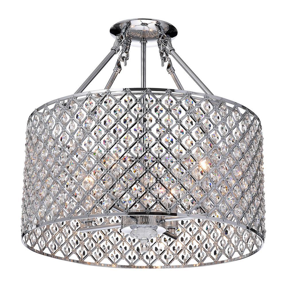 best website fdfeb 34d20 Edvivi Marya 4-Light Chrome Semi-Flush Mount Light with Crystal Beaded Drum