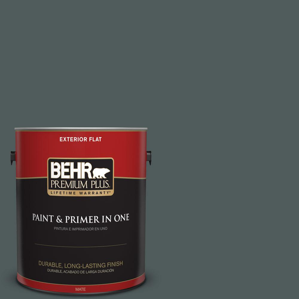 BEHR Premium Plus 1-gal. #N440-7 Midnight in NY Flat Exterior Paint