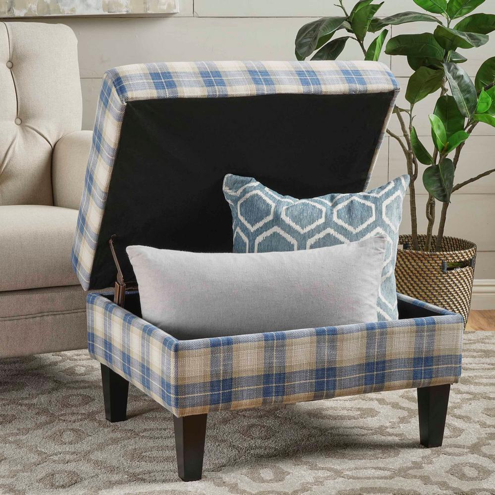 Swell Noble House Daisha Blue Plaid Fabric Storage Ottoman 16595 Machost Co Dining Chair Design Ideas Machostcouk