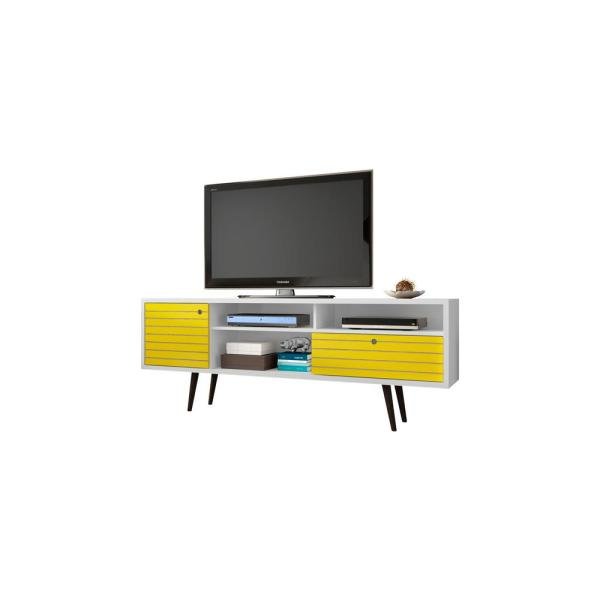 Manhattan Comfort Liberty White and Yellow Entertainment Center 202AMC64