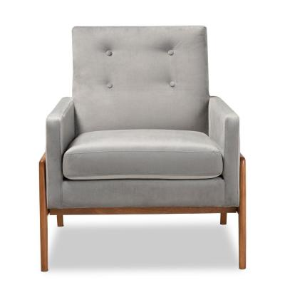 Perris Grey and Walnut Brown Lounge Chair