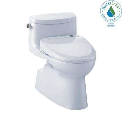 Carolina II Connect 1-Piece 1.28 GPF Elongated Toilet with Washlet S300e Bidet and CeFiOntect in Cotton White