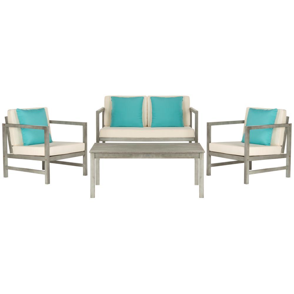 Safavieh Montez Grey Wash 4-Piece Wood Patio Conversation Set with White Cushions