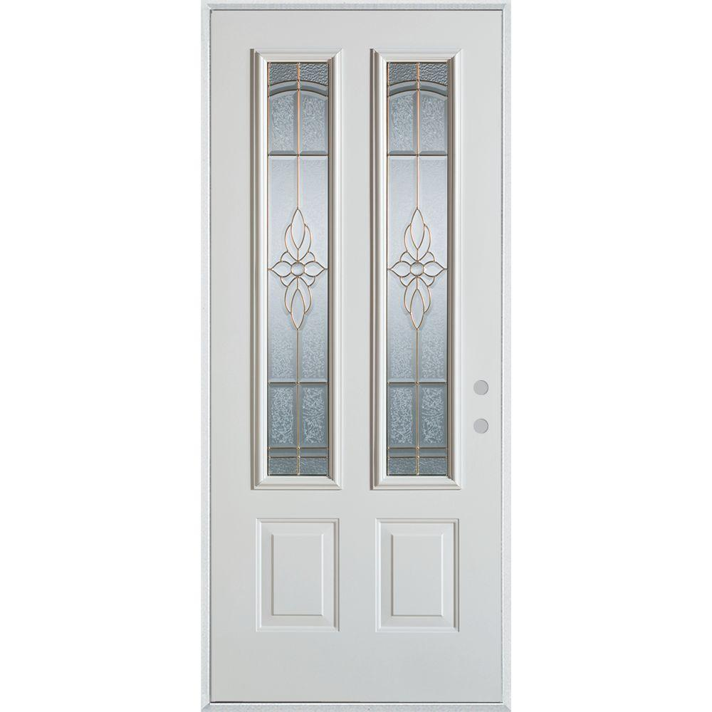 32 in. x 80 in. Traditional Patina 2 Lite 2-Panel Painted