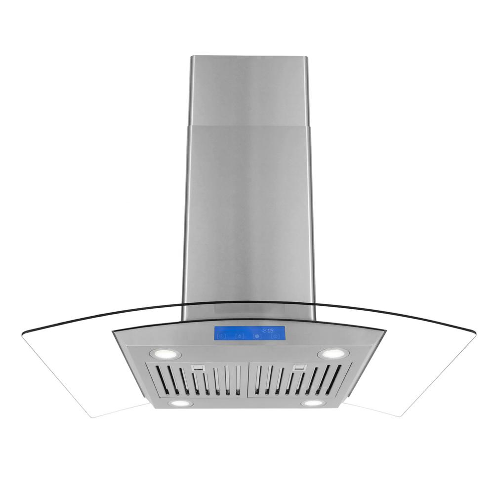 36 in. Ducted Island Range Hood in Stainless Steel with LED