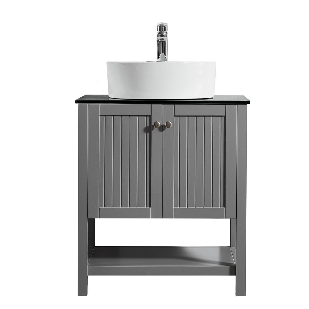 ROSWELL Modena 28 in. W x 18 in. D Vanity in Grey with Glass Vanity Top in Black with White Basin