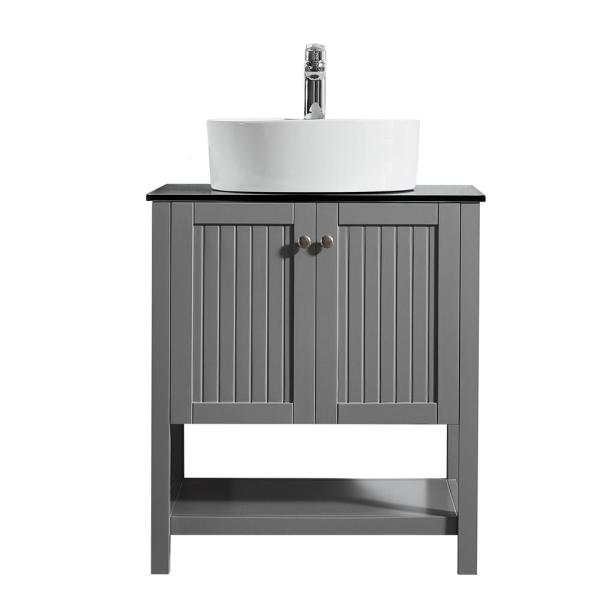 Modena 28 in. W x 18 in. D Vanity in Grey with Glass Vanity Top in Black with White Basin