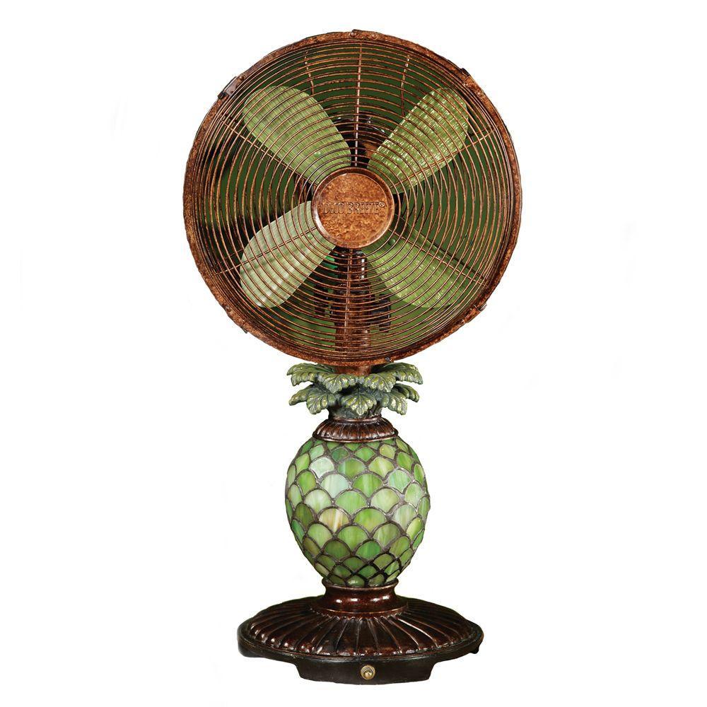 Deco Breeze 10 in. Mosaic Glass Pineapple Table Fan, Meta...