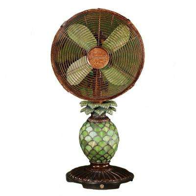 10 in. Mosaic Glass Pineapple Table Fan