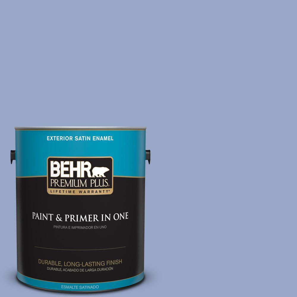 1 gal. #PPU15-13 Blue Hydrangea Satin Enamel Exterior Paint